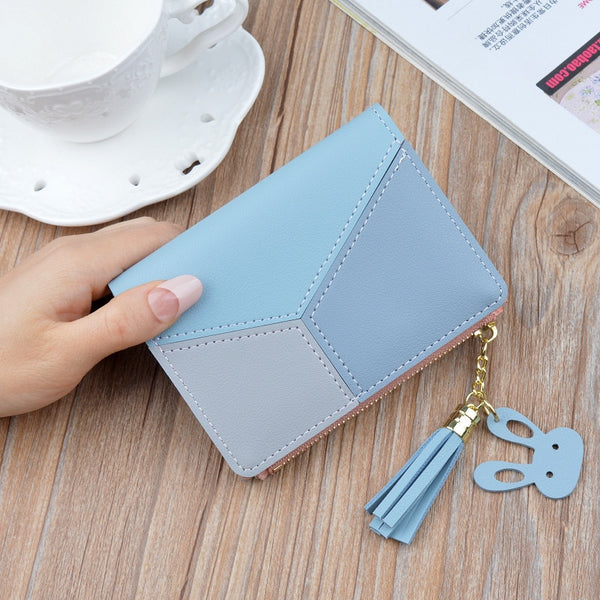 Blue - New Arrival Wallet Short Women Wallets Zipper Purse Patchwork Fashion Panelled Wallets Trendy Coin Purse Card Holder Leather