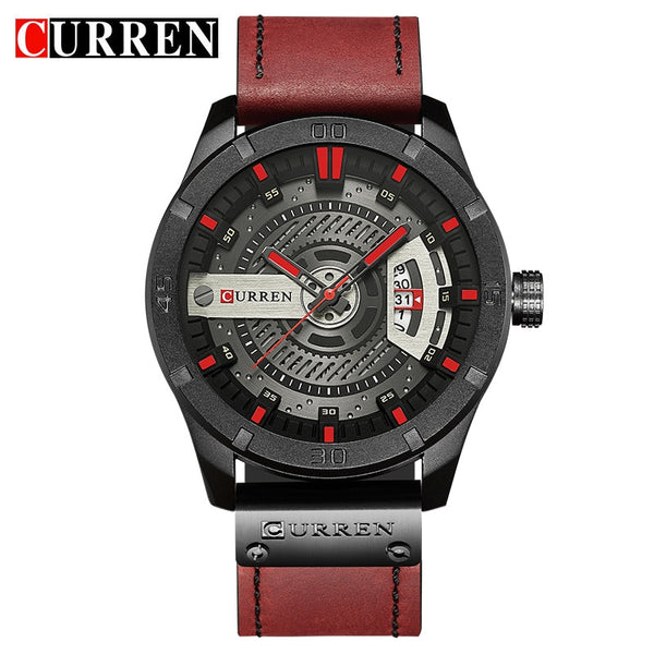 black red - 2018 Luxury Brand CURREN Men Military Sports Watches Men's Quartz Date Clock Man Casual Leather Wrist Watch Relogio Masculino