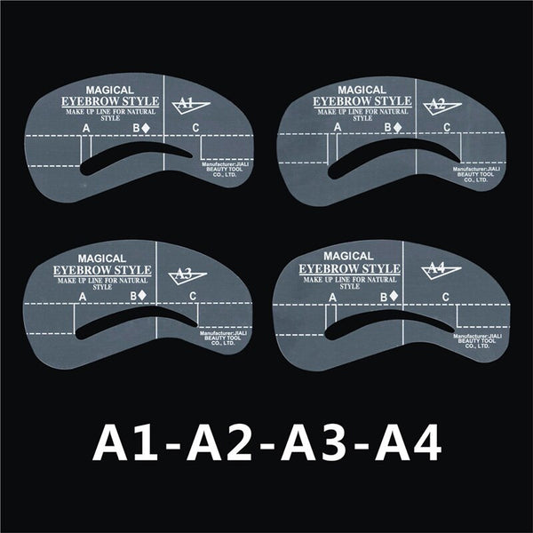 A1A2A3A4 - 24pcs/set Grooming Stencil Kit MakeUp Shaping DIY Beauty Eyebrow Template Stencils Make up Shaper Tools Accessories