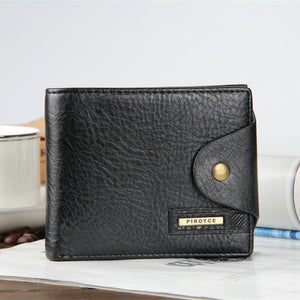 Horizontal black - 2018 New brand high quality short men's wallet ,Genuine leather qualitty guarantee purse for male,coin purse, free shipping