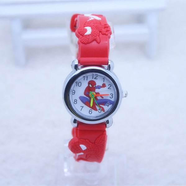 Red - 3D Spiderman Children's Watches For Boys Girls Clock Kids Watch Superhero Spider Man Silicone Children Watch Baby Birthday Gift