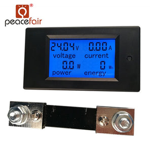 Default Title - PEACEFAIR DC Digital Panel Voltmeter Ampere Meter 6.5-100V 100A 4 IN1 LCD Power Energy Current Meter PZEM-051 With 100A Shunt
