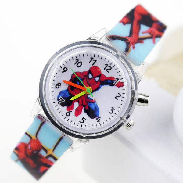 Boy Sky Blue Flash - Princess Elsa Children Watches Spiderman Colorful Light Source Boys Watch Girls Kids Party Gift Clock Wrist Relogio Feminino