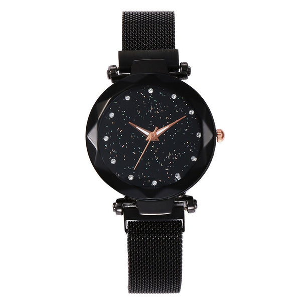 D - Top Brand Luxury Ladies Watch Magnet Stainless Steel Mesh with Starry Sky Fashion Diamond Female Quartz Watch Relogio Feminino
