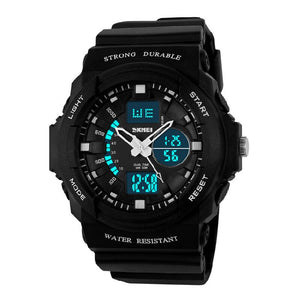 Black - SKMEI Shock Resistant Watches Waterproof Men Women Kids Outdoor Sport Timing Watch Multifunction Children Fashion Wristwatches