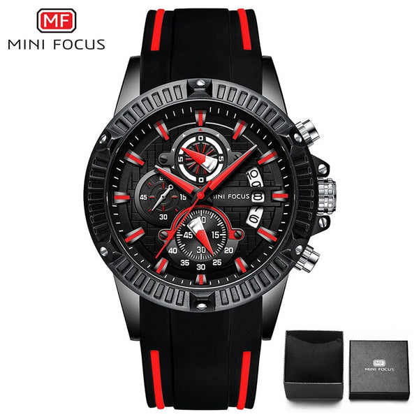 black red - MINIFOCUS Fashion Men's Wristwatch Quartz Watch Men Waterproof Silicone Sport Wrist Watches Men Luxury Brand Relogio Masculino