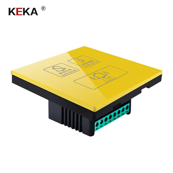 Gold / 220V - KEKA Hotel Switch smart wall touch switch 3 Gang Do not disturb,Clean up,doorbell switch  Crystal Glass Panel AC220-250V