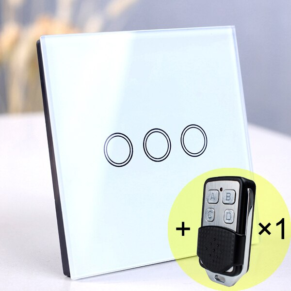 3 gang White Remote - EU/UK Standard Touch Switch, Wall Light Touch Screen Switch, wireless Remote control Wall touch switch , 2 gang gray AC130~250V