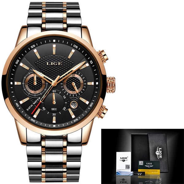 gold black - LIGE 2018 Watch Men Fashion Sport Quartz Clock Mens Watches Brand Luxury Full Steel Business Waterproof Watch Relogio Masculino