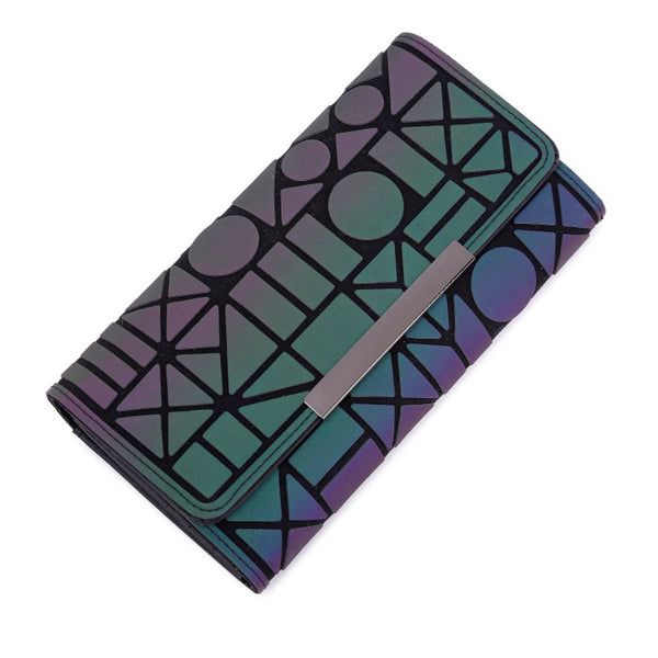 5 Fangkuai - Aliwood 2018 Hot Brand Bao Wallet Women Clutch Ladies Cards bag Fashion Geometric Female bags Noctilucent luminous Long Purse
