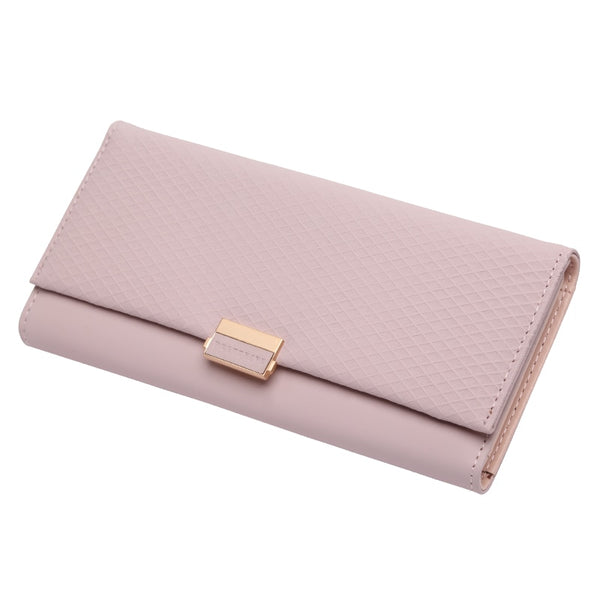 Pink - Woman Wallet Clutch Plaid Wallet Zipper Female Ladies Hot Change Women Luxury Credit Phone Card Holder Coin Purses For Girls