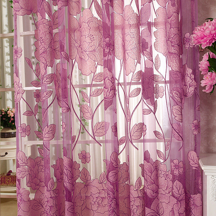 Purple Tulle / Custom made / 1 Tab Top - Top Finel Modern Luxury Embroidered Sheer Curtains for Living Room Bedroom Kitchen Door Tulle Curtains Drapes Window Treatments