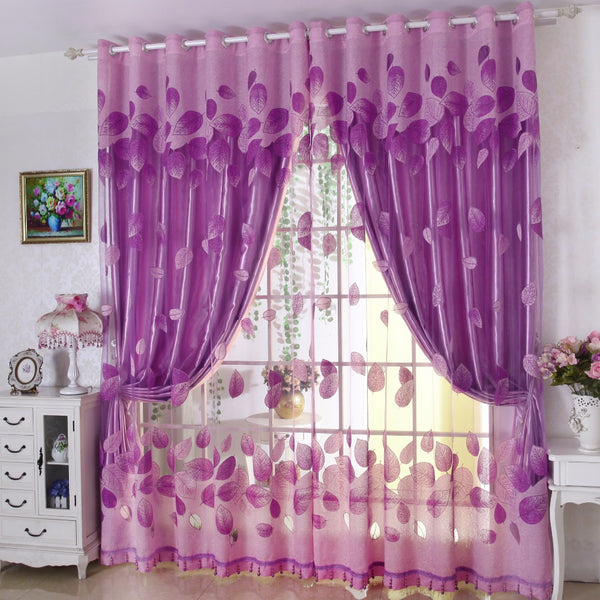 [variant_title] - Luxury Modern Leaves Designer Curtain Tulle Window Sheer Curtain For Living Room Bedroom Kitchen Window Screening Panel P347Z30