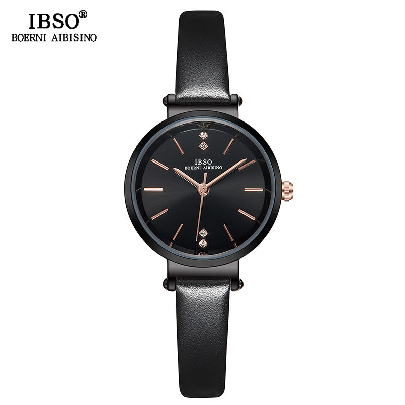 Black - IBSO 8 MM Ultra-Thin Wrist Women Watches Luxury Female Clock Fashion Montre Femme 2019 Quartz Ladies Watch Relogio Feminino