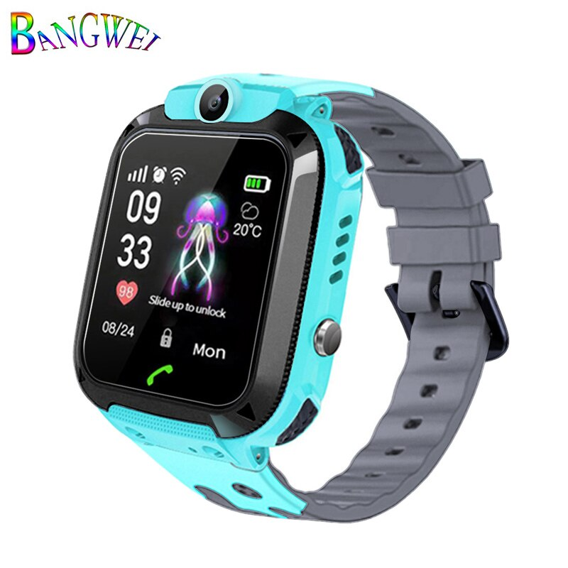 Blue - 2019BANGWEI Smart watch LBS Kid Smart Watches Baby Watch for Children SOS Call Location Finder Locator Tracker Anti Lost Watches