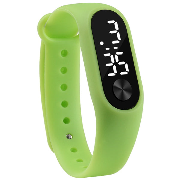 green - Fashion Men Women Casual Sports Bracelet Watches White LED Electronic Digital Candy Color Silicone Wrist Watch for Children Kids