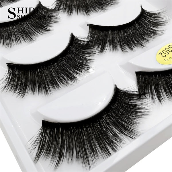 g802 - SHIDISHANGPIN 5 pairs mink eyelashes natural long 3d mink lashes hand made false eyelashes dramatic eyelashes makeup fake lashes