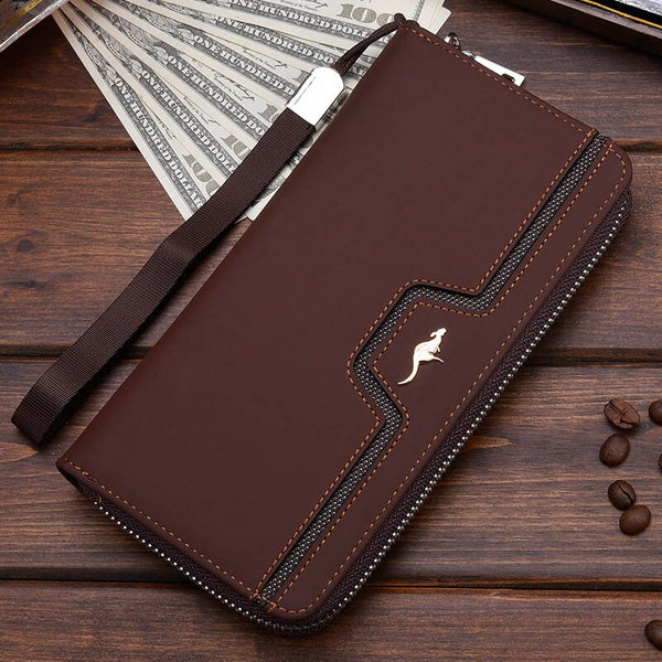 Coffee C - New Men Leather Wallet High Quality Zipper Wallets Men Long Purse Male Clutch Phone Bag Wristlet Coin Purse Card Holder MWS184