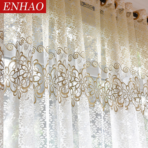 [variant_title] - ENHAO Floral Modern Sheer Tulle Curtains for Living Room Bedroom Kitchen Voile Sheer Curtains for Window Tulle Curtains Drapes