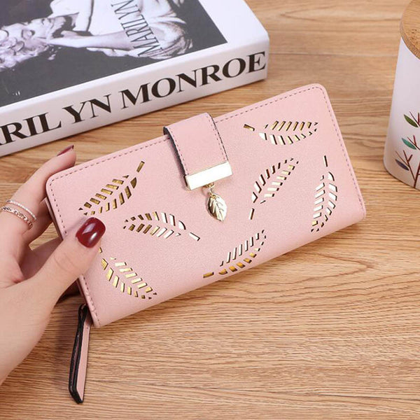 Pink - Women Wallet PU Leather Purse Female Long Wallet Gold Hollow Leaves Pouch Handbag For Women Coin Purse Card Holders Clutch