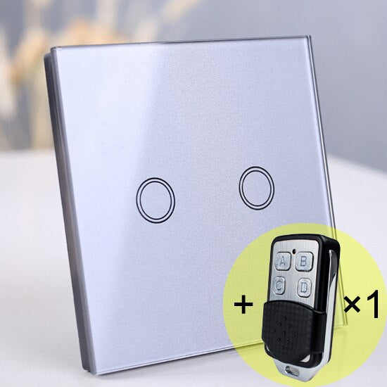 2 gang Gray Remote - EU/UK Standard Touch Switch, Wall Light Touch Screen Switch, wireless Remote control Wall touch switch , 2 gang gray AC130~250V