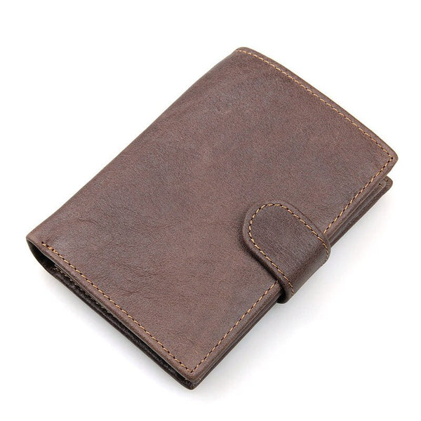 Brown - Vintage Men's Short Wallet Men Genuine Leather Clutch Wallets Purses First Layer Real Leather Multi-Card Bit Retro Card Holder