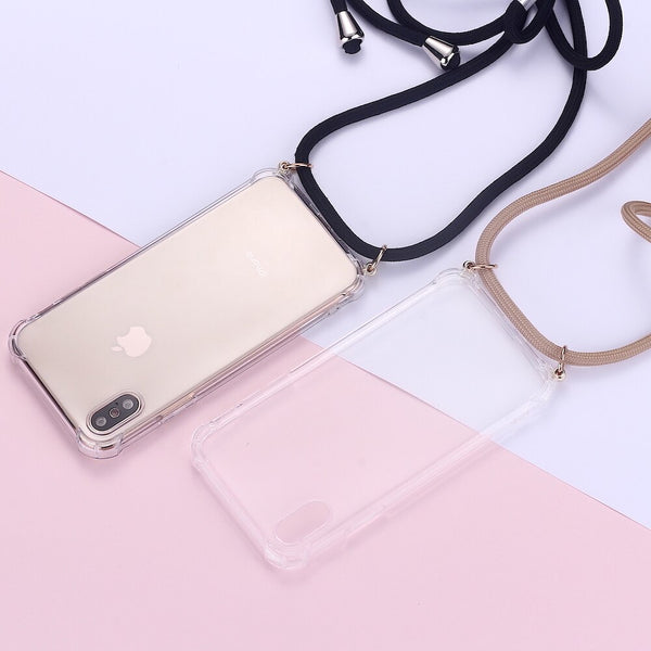 Strap Cord Chain Phone Tape Necklace Lanyard Mobile Phone Case for Carry Cover  Case Hang iPhone 11 Pro XS Max XR X 7Plus 8Plus
