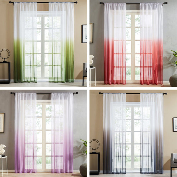 [variant_title] - Topfinel Gradient Printed Tulle Transparent Curtains Living Room Bedroom Kitchen Home sheer curtains Decor Tulle at Window