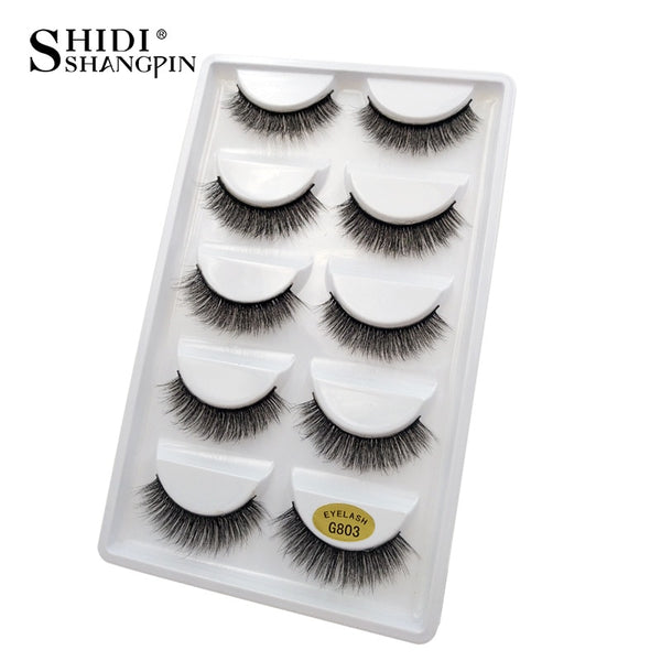 G803 - 5 pairs false eyelashes natural 3D mink lashes makeup eyelash extension long mink eyelashes volume fake eye lashes cilio russian
