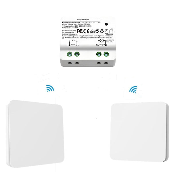 2 White Switches kit - Wireless Light Switch Wall Switch Remote Control Light Lamps up to 30m, No Battery, No Wire Needed Can Put the Switch Anywhere