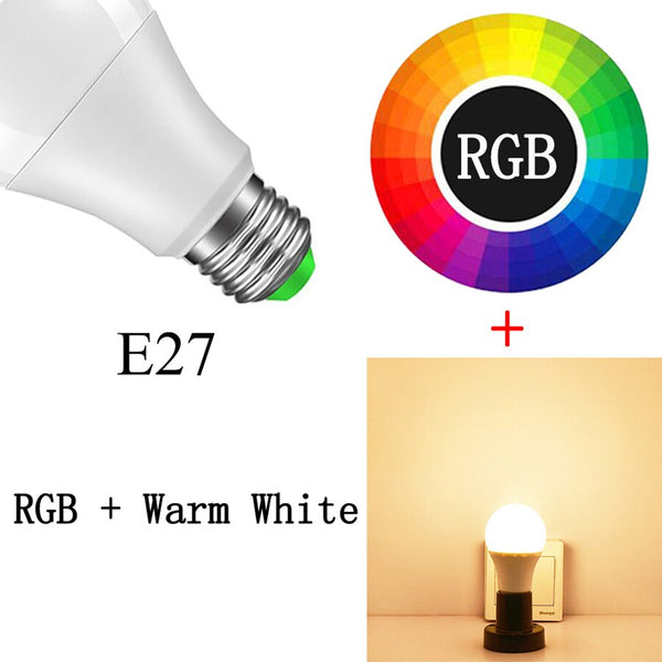 E27 RGBWW / 15w - Smart Bulb E27 B22 LED Wireless Bluetooth4.0 Dimmable 15W RGB Bulb Google Home APP Control Multicolored Changing Night Light