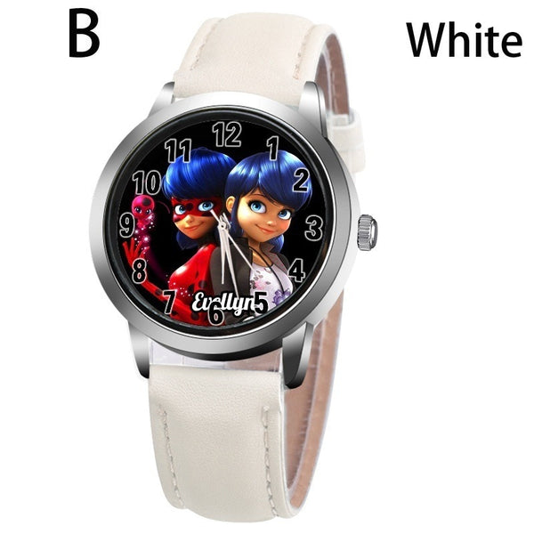 B-WHITE - New arrive Miraculous Ladybug Watches Children Kids gift Watch Casual Quartz Wristwatch fashion leather watch Relogio Relojes