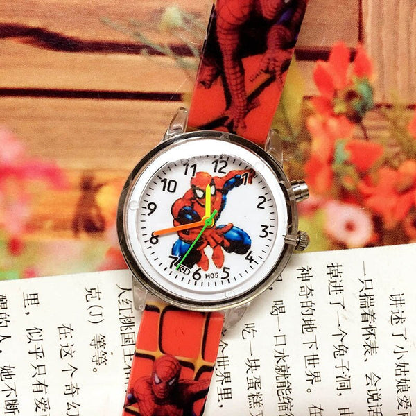 spiderman-Red - 2019 Spiderman Children Watches Cartoon Electronic Colorful Light Source Child Watch Boys Birthday Party Kids Gift Clock Wrist