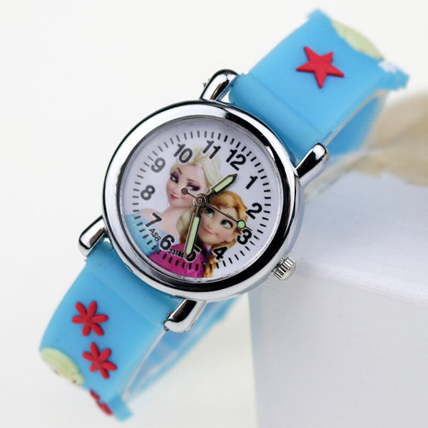 Princess Sky Blue - Princess Elsa Children Watches Spiderman Colorful Light Source Boys Watch Girls Kids Party Gift Clock Wrist Relogio Feminino