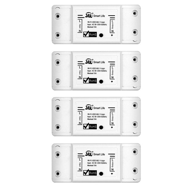 4 PCs - DIY WiFi Smart Light Switch Universal Breaker Timer Wireless Remote Control Works with Alexa Google Home Smart Home 1 Piece