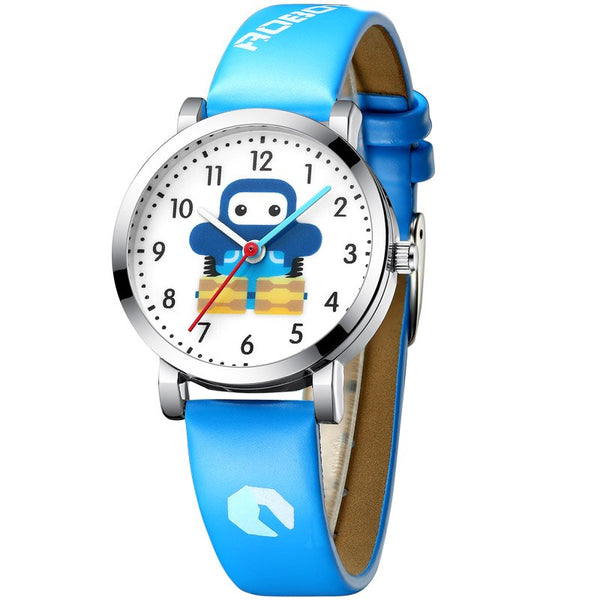 blue - KDM Cartoon Watches Kid Girls Waterproof Leather Straps Sport Wristwatch Children Quartz Watch Fashion Cute Clock Montre Enfant