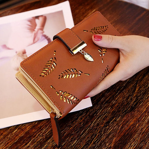D Coffee - Mara's Dream 2019 Brand Leaves Hollow Women Wallet Soft PU Leather Women's Clutch Wallet Female Designer Wallets Coin Card Purse