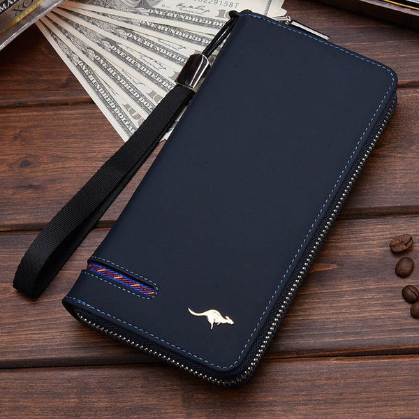 Blue B - New Men Leather Wallet High Quality Zipper Wallets Men Long Purse Male Clutch Phone Bag Wristlet Coin Purse Card Holder MWS184