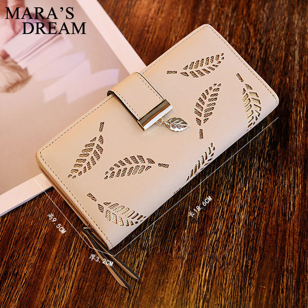 [variant_title] - Mara's Dream 2019 Brand Leaves Hollow Women Wallet Soft PU Leather Women's Clutch Wallet Female Designer Wallets Coin Card Purse