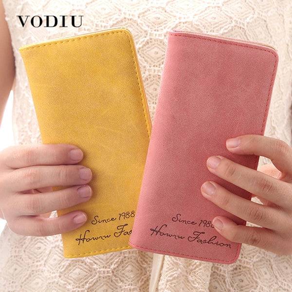 [variant_title] - Minimalist Designer Slim Long Bifold Women Wallet Female Clutch Leather Brand Coin Purse Ladies Card Holder Money Dollar Cuzdan