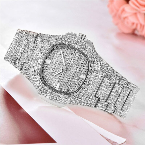 [variant_title] - Men Watch Sliver Rose Gold Mens Watches Top Brand Luxury Diamond Stainless Steel Quartz Wristwatch Dress Business Date Clock 45