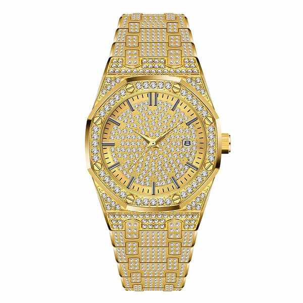 V294-Gold - 18K Gold Watch Men Luxury Brand Diamond Mens Watches Top Brand Luxury FF Iced Out Male Quartz Watch Calender Unique Gift For Men