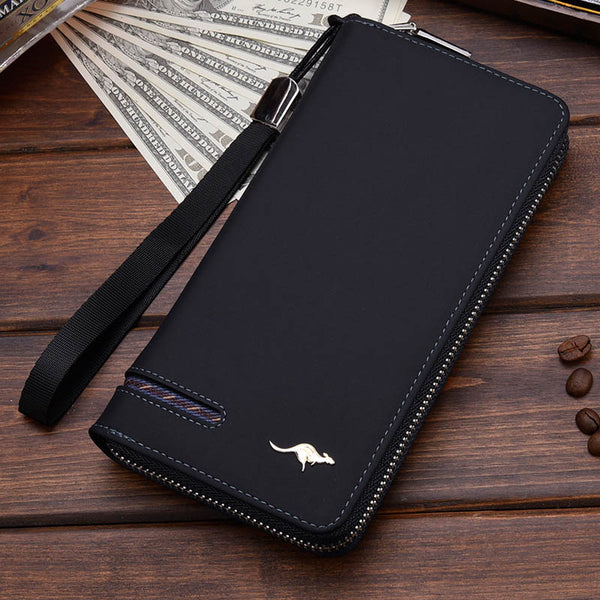 Black B - New Men Leather Wallet High Quality Zipper Wallets Men Long Purse Male Clutch Phone Bag Wristlet Coin Purse Card Holder MWS184