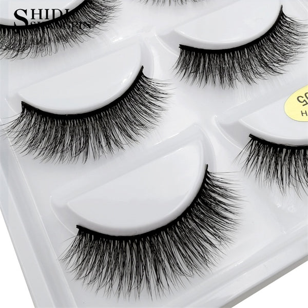 g805 - SHIDISHANGPIN 5 pairs mink eyelashes natural long 3d mink lashes hand made false eyelashes dramatic eyelashes makeup fake lashes