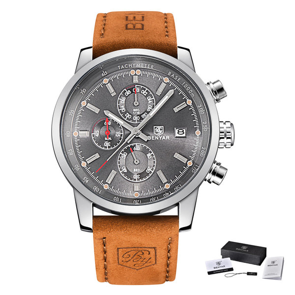 L Brown silver gray - BENYAR Fashion Chronograph Sport Mens Watches Top Brand Luxury Quartz Watch Reloj Hombre saat Clock Male hour relogio Masculino