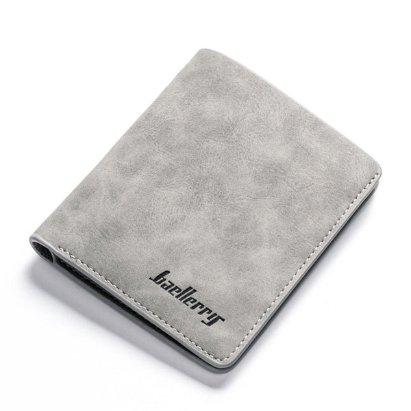 Gray - banabanma Men Retro Frosted PU Wallet Two Folding Male Purse Credit Card Holder Solid Color Short Wallet purse and wallet ZK30