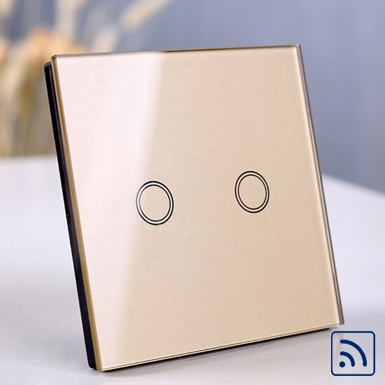 RF 2 gang Gold - EU/UK Standard Touch Switch, Wall Light Touch Screen Switch, wireless Remote control Wall touch switch , 2 gang gray AC130~250V