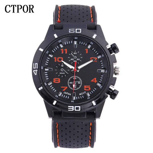 orange - 9-18 years Old Sports Children's Watch Military Sports Car Style Man Watches Silicone Wristwatch Child Student Clock Kids Boy WA