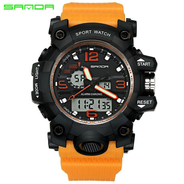 Orange - SANDA top luxury brand G style men's military sports watch LED digital watch waterproof men's watch Relogio Masculino