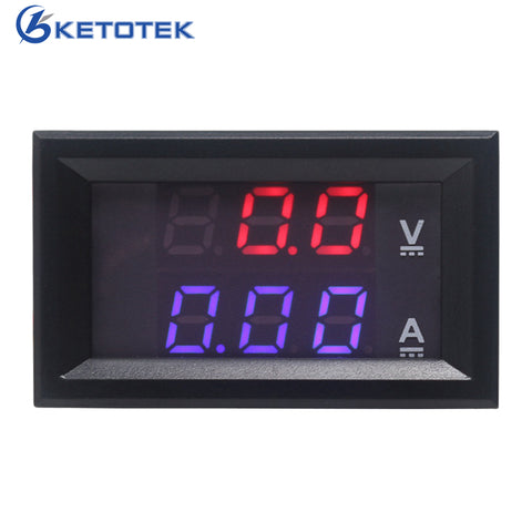 [variant_title] - DC 0-100V/10A 50A 100A 500A DC Ammeter Voltmeter Digital LED Red Blue Display Car Amp Volt Meter
